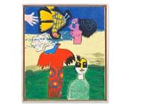 head, figure, two birds, france by corneille