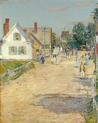 east gloucester, end of the trolley line by childe hassam