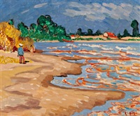 children at the beach by randolph stanley hewton