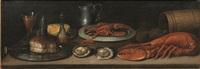 natura morta con crostacei, ostriche, piatto metallico con pane, bicchiere e boccale by flemish school (18)