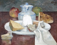 stilleben mit krug, äpfeln, brot und käse by richard eberle