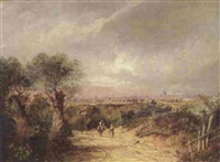travellers on a path in hampstead with a view of london beyond by charlotte nasmyth