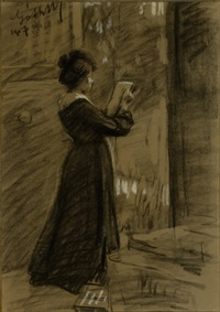 standing, drawing woman by moricz goth