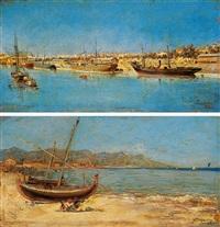 barcos en un puerto (+ jovenes en la playa de barcelona; pair) by francisco cabanzón hernández
