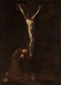 la crucifixion avec saint françois priant au pied de la croix by giovanni battista piazetta