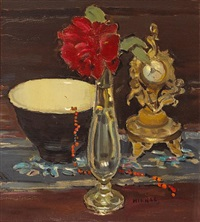 still life with a bowl, rose in a glass vase and rococo revival gilt bronze clock by clarence hinkle
