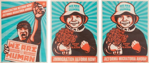 immigration reform now triptych by shepard fairey