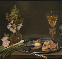 still life with shrimp, ramps, flowers and a glass vase by frans ykens