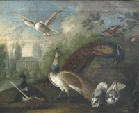 a peacock and wildfowl in a parkland setting by marmaduke cradock