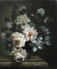 peonies and clematis by bennett oates
