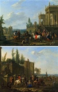 aufbruch zur falkenjagd (+ rast einer jagdgesellschaft mit hufschmied; pair) by jan frans van bredael the elder