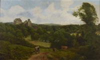 a wooded landscape with castle ruin by john smart