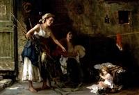 interieur mit zwei jungen frauen und einem kind by arturo corsi
