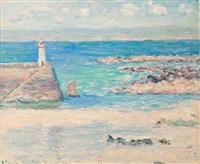 phare et rochers en bord de mer by blanche hoschedé-monet