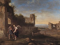 an italianate landscape with tobias and the angel by johan van haensbergen