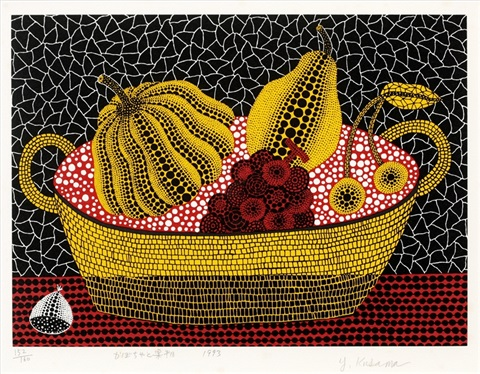 pumpkin and fruits by yayoi kusama