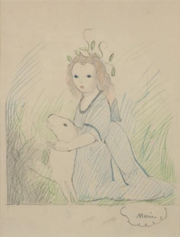 fillette au chien by marie laurencin