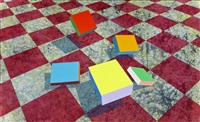 five slabs over checkerboard by ronald davis