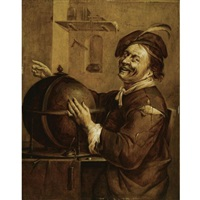laughing democritus, seated next to a terrestrial globe by jacob duck