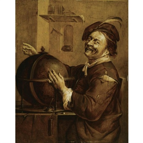 laughing democritus seated next to a terrestrial globe by jacob duck