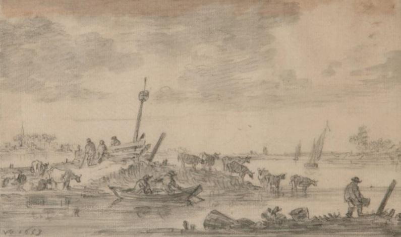 paysage fluvial animé by jan josefsz van goyen