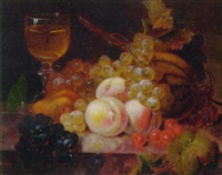 grapes, cherries, peaches and a melon on marble ledge by hansine kern-eckersberg