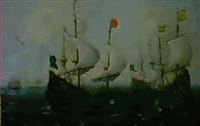 navires en pleine mer vaisseaux hollandais enbord de plage by andries van artvelt (ertvelt)