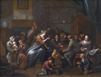 an interior with figures drinking and smoking, children playing with tops in the foreground by bernardus van schendel