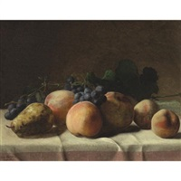 grapes, peaches and pear on a table by george hetzel