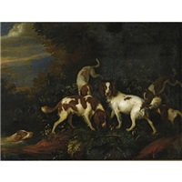 spaniels in a wooded landscape by adriaen beeldemaker