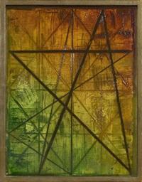 konstruktion mit acht zacken über grün bis braun by hermann glöckner