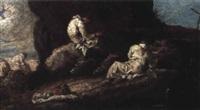 moine dans un paysage by giovanni (giambattista) peruzzini