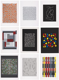 connections 1925/1983 (complete portfolio of 9 works) by anni albers