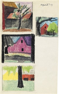 group of 4 pencil and color pencil landscape studies (4 works) by oscar florianus bluemner