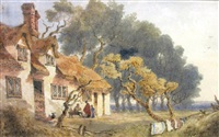 figures outside a cottage, said to be at ditton near cambridge and figures walking by a cottage said to be chesterton (2 works) by joseph murray ince