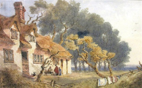 figures outside a cottage said to be at ditton near cambridge and figures walking by a cottage said to be chesterton 2 works by joseph murray ince