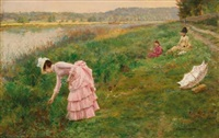 picking wildflowers by marie françois firmin-girard