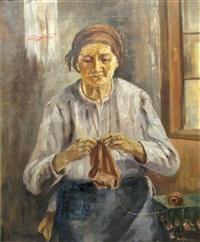 old woman knitting by aurel baesu