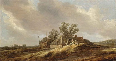 an extensive dune landscape with peasants resting in front of a farm house by jan josefsz van goyen