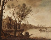 paysage de rivière en hollande by anthony jansz van der croos