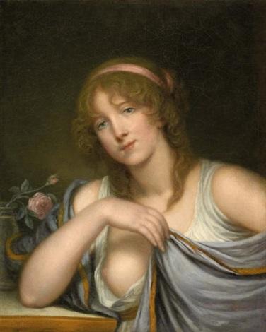 portrait de jeune femme à la rose by jean baptiste greuze