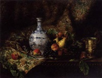 peaches, pears, grapes and walnuts on a table with a chinese vase, a gold goblet, a woven carpet behind by marthe solange