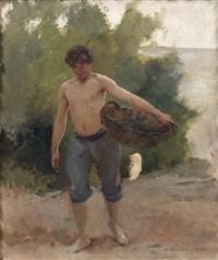 homme torse nu portant un panier sur la plage by édouard joseph dantan