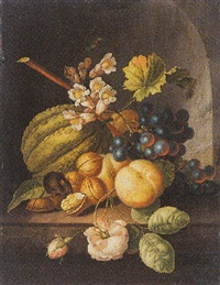 a still life of a melon, peaches, grapes, walnuts, a rose and other flowers with a mouse, all in a stone niche by johannes christianus roedig