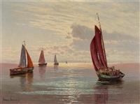 fischerboote vor sonnenuntergang by ernst lorenz