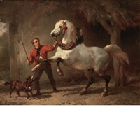 groom with a dog and a rearing white horse in a stable by wouter verschuur the elder