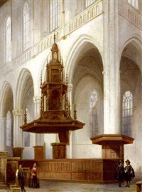 cathedral interior with figures by angelus de baets