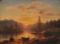 sunset in the mountains by georg eduard otto saal