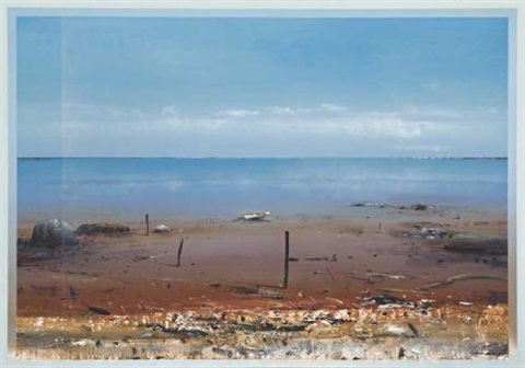 untitled landscape with boat on flats by ken johnson