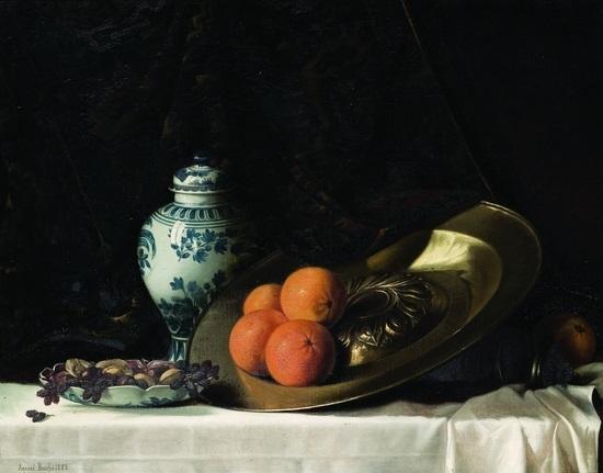 arance su un piatto di peltro un vaso di maiolica frutti su un tavolo by armand bouchè